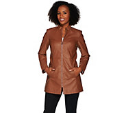 As Is Dennis Basso Faux Leather Chevron Seam Jacket - A291167
