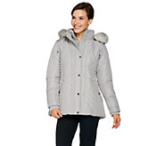As Is Susan Graver Quilted Jacket with Removable Faux Fur Trim Hood - A293267