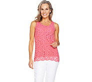 As Is Kelly by Clinton Kelly Sleeveless Lace Front Knit Top - A300267