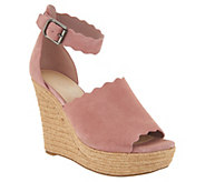 Marc Fisher Suede Ankle Strap Espadrille Wedge - Haya - A302967