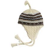 MUK LUKS Womens Fair Isle Cable Tassel Helmet - A337567