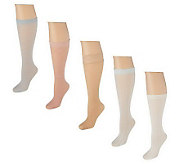 Passione Bellisimo Set of 5 Luxury Knee High Socks - A199668