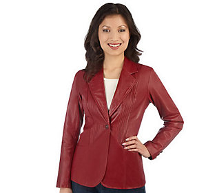 Product image of Denim & Co. One Button Leather Jacket with Pintuck Detail