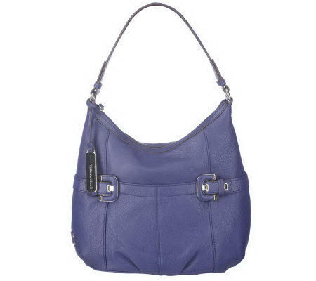 Tignanello Pebble Leather Hobo Bag With Buckle Detail