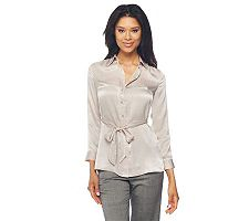 Liz Claiborne New York Belted Button Front Tunic with Shirring