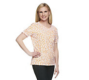 Denim & Co. Short Sleeve Animal Print Peasant Top - A222168
