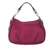 JPK Paris75 SignatureFabric Expandable Lindsay Hobo w/ Leather Trim - A224268