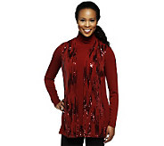 Bob Mackies Mock Neck Long Sleeve Knit Top and Sequin Vest Set - A229268