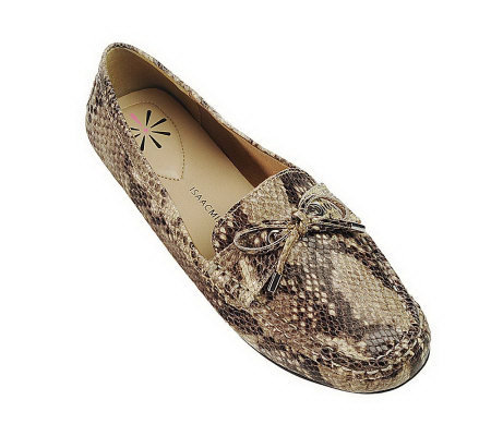 Isaac Mizrahi Live! Python Embossed Leather Moccasins