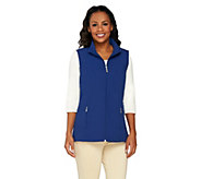 Denim & Co. Zip Front Vests with Pockets and Striped Lining - A232168