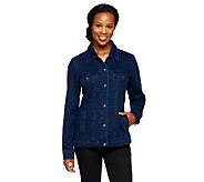 Denim & Co. How Comfy Denim Style Jacket with Bling Buttons - A235368