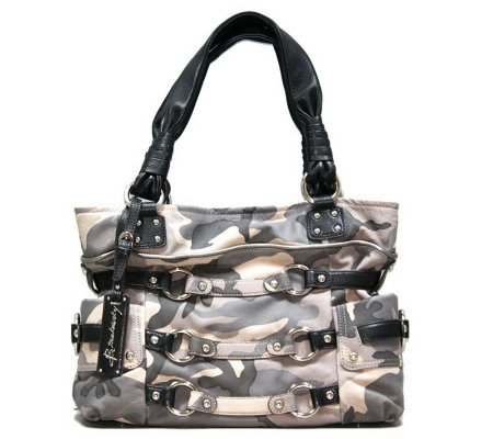 B. Makowsky Camouflage Printed Leather Tote Bag
