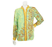 Bob Mackies Floral Paisley Placement Print Shirt - A251768