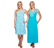 Stan Herman Beaded Vines Shift and Maxi Lounge Dress Set - A252968