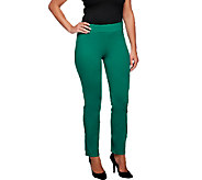 Women with Control Petite Ruched Side Waist Slim Leg Pants - A254668