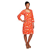 Liz Claiborne New York 3/4 Sleeve Floral Print Knit Dress - A254868