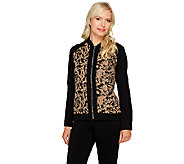 Susan Graver Jacquard Knit Long Sleeve Zip Front Bomber Jacket - A257968