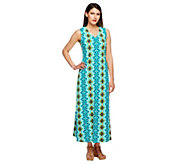 As Is Denim & Co. Regular Sleeveless V-Neck Print Maxi Dress - A260668