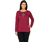 Bob Mackies Striped Knit Top with Fleur De Lis Applique - A261768