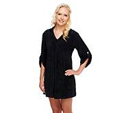 As Is Denim & Co. Beach Knit Terry Cover-up w/ Hood & Pockets - A262168