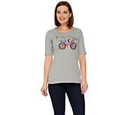 Quacker Factory Celebrate America Elbow Sleeve T-shirt - A262568