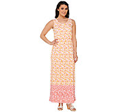 Liz Claiborne New York Regular Geo Border Print Maxi Dress - A262968