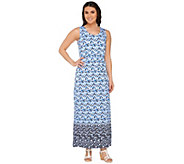 Liz Claiborne New York Regular Geo Border Print Maxi Dress - A262968