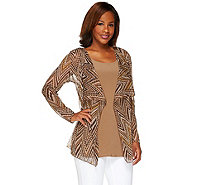 Attitudes by Renee Printed Mesh Cardigan and Jersey Tank Set - A264268
