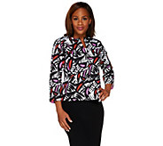 Bob Mackies Bracelet Sleeve Zip Front Printed Jacket with Pockets - A265368