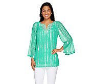 Bob Mackies Split Neck Embroidered Metallic Georgette Top - A266368
