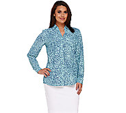 Denim & Co. Animal Print Y-Neck Button Front Shirt - A266868