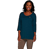 Denim & Co. Active 3/4 Sleeve Scoop Neck Tunic - A267968