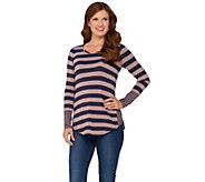 LOGO by Lori Goldstein Knit Stripe Top with Contrast Side Godets - A269668