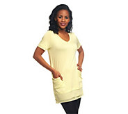 As Is LOGO by Lori Goldstein Petite Chiffon Trim Tee w/ Pockets - A269868