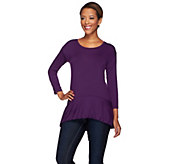 LOGO by Lori Goldstein Knit Top with Hi-Low Bubble Hem - A269968