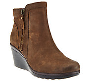 Earth Leather Wedge Ankle Boots w/ Side Zipper - Cardinal - A270068