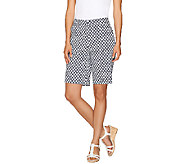As Is Susan Graver Printed Cotton Sateen Zip Front Bermuda Shorts - A273168