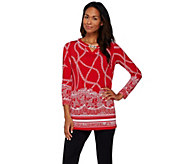 Susan Graver Printed Liquid Knit Long Sleeve Tunic w/ Keyhole - A273468