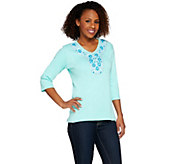 Quacker Factory Turquoise Embellished 3/4 Sleeve T-shirt - A273968