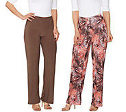 Attitudes by Renee Regular Printed and Solid Knit Pants Set - A276068