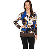 Susan Graver Printed Liquid Knit Long Sleeve Top - A278868