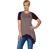 LOGO by Lori Goldstein Striped Tank and Solid Knit Top Twin Set - A279668