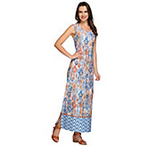 As Is Denim & Co. Petite Tribal Border Printed Maxi Dress - A283868