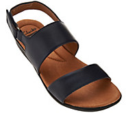 As Is Clarks Leather Double Strap Adj. Sandals - Manilla Penna - A285068
