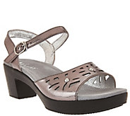 As Is Alegria Leather Sandals w/ Perforations & Ankle Strap - A286368