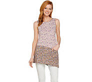 LOGO by Lori Goldstein Mixed Print Knit Tank with Asymmetric Hem - A288868