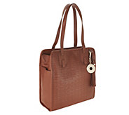 As Is Isaac Mizrahi Live! Bridgehamton Perforated Leather Tote - A289068