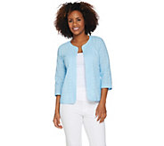 Joan Rivers Mixed Pattern Eyelet Jacket with 3/4 Sleeves - A291168