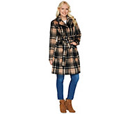 As Is Isaac Mizrahi Live! Brushed Plaid Snap Front Coat with Belt - A291368
