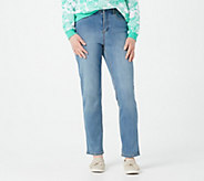 Denim & Co. Petite 5-Pocket Slim Straight Leg Full Length Jeans - A296668